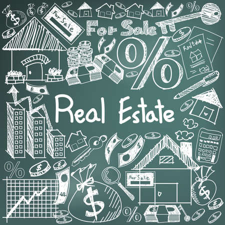 Real estate business industry and investment chalk handwriting doodle sign and symbol in black board background used for education subject presentation or introduction with sample text, create by vector
