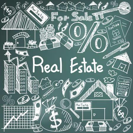 industria de bienes raíces negocio y tiza inversión signo de escritura a mano del doodle y el símbolo en el fondo negro de la tarjeta utilizada para la presentación de la educación o la introducción sujetos con texto de ejemplo, crear por el vector