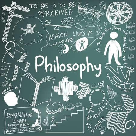 Welt Philosophie und Religion Lehre Kreide Handschrift doodle Skizze Design Thema Zeichen und Symbol in Tafel Hintergrund für Bildung Thema Präsentation oder Einführung mit Beispieltext, durch den Vektor erstellen Vektorgrafik