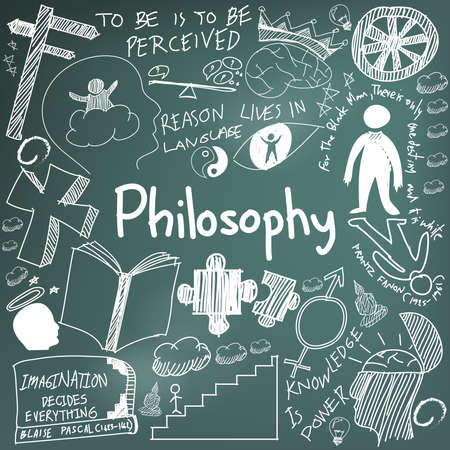 epistemology: World philosophy and religion doctrine chalk handwriting doodle sketch design subject sign and symbol in blackboard background for education subject presentation or introduction with sample text, create by vector