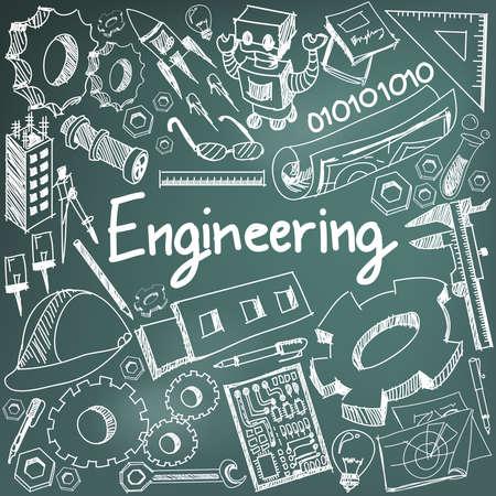 Mecánica, eléctrica, civil, otra profesión enseñanza de la ingeniería tiza escritura a mano del doodle signo icono de la herramienta y la química y el símbolo en el fondo de la pizarra se utiliza para tema o título de la presentación con el texto de cabecera, crear por el vector