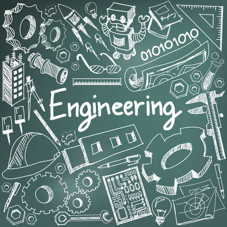 Mechanical, electrical, civil, chemical and other engineering education profession chalk handwriting doodle icon tool sign and symbol in blackboard background used for subject or presentation title with header text, create by vector