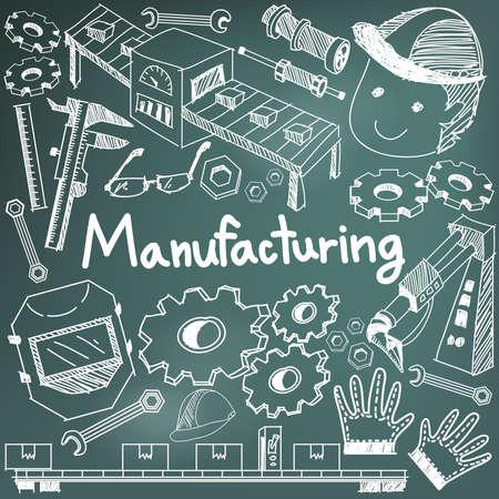 assembly: La fabricación y el funcionamiento del sistema en la fábrica de línea de montaje de producción tiza escritura a mano del Doodle del bosquejo herramientas de diseño de signo y símbolo en fondo de la pizarra para su presentación o introducción de educación sujetos con texto de ejemplo, crear por el vector
