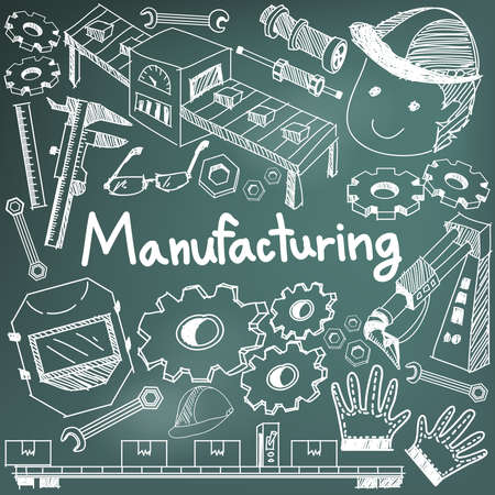 Manufacturing and operation system in factory production assembly line chalk handwriting doodle sketch design tools sign and symbol in blackboard background for education subject presentation or introduction with sample text, create by vector