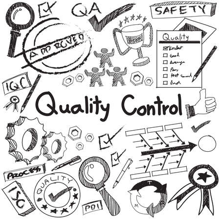 Quality control in manufacturing industry production and operation handwriting doodle sketch design tools sign and symbol in white isolated background paper for engineering management education presentation or introduction with sample text, create by vect Vectores