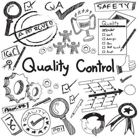 control de calidad: El control de calidad en la producción de la industria manufacturera y la operación de escritura a mano del Doodle del bosquejo herramientas de diseño de signo y símbolo en blanco aislado papel de base para la presentación educación de gestión de ingeniería o introducción con texto de ejemplo, crear por vect