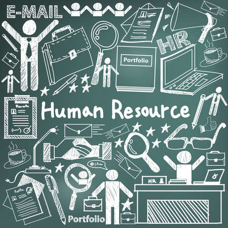human resource management: Human resource management in organization handwriting doodle icon sketch sign and symbol in blackboard background used for business education presentation title with header text, create by vector Illustration