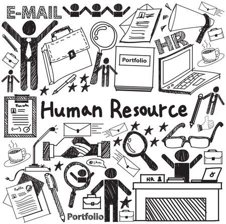 hr: Human resource management in organization handwriting doodle icon sketch sign and symbol in white isolated background paper used for business education presentation title with header text, create by vector Illustration