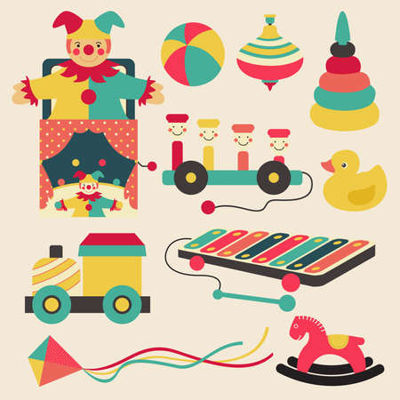 cartoon circus: Old retro kid toys and circus carnivals object flat icon design in pastel color style, create by vector