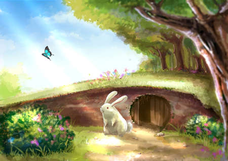 Illustration of cartoon cute white rabbit bunny is standing near the rabbit hole in beautiful garden with colorful flowers tree plants and morning sunshine nature landscape