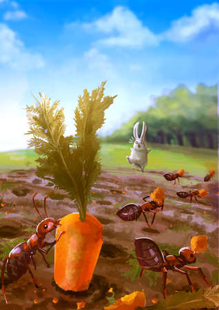 sky and grass: Cartoon illustration of group of red ants eating carrot in the garden with white rabbit shocking in nature background scene Stock Photo