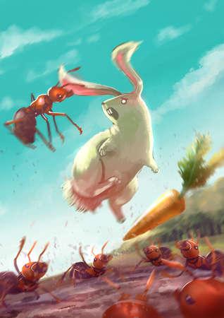 hormiga caricatura: Ilustración de dibujos animados de un grupo de hormigas atacan a un conejo blanco por morder es oídos, mientras que el conejo está saltando con el dolor