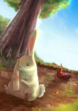 hormiga caricatura: Ilustración de dibujos animados de conejo blanco frotando sus oídos en el dolor con la situación roja del ejército de hormigas en la escena fondo natural