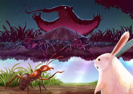anthill: Cartoon illustration of a red ant telling story to white rabbit about a terrifying giant anteater monster in its imagine