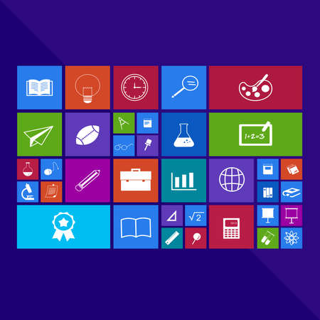 application: Trendy computer or mobile application app program of flat education academic icon in many subjects such as math science art chemistry physics sport and technology tool in colorful geometric square block background Illustration