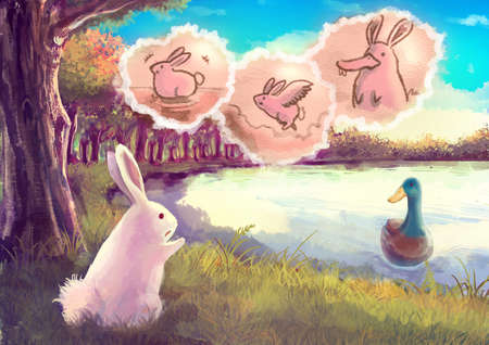 children swimming: Cartoon illustration of a cute white rabbit talking to the duck in pond that she want to be able to fly and swim like her with imagination cloud bubble