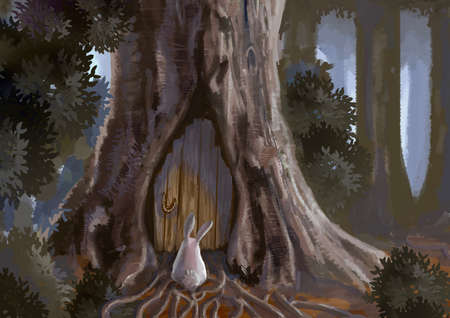 adventure story: Cartoon illustration of cute white rabbit bunny is standing in front of a old wooden door tree house entrance in deep forest scene