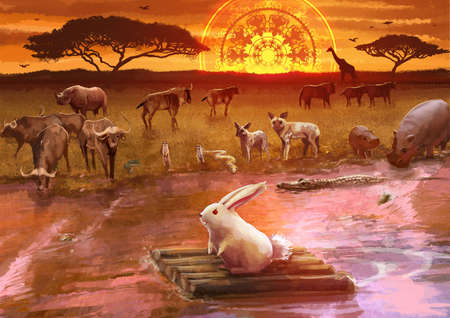 riverside landscape: Cartoon illustration of white rabbit bunny in an adventure journey by traveling on wooden raft along the river with many wildlife animals watching from the riverside savanna safari field landscape with sunset scene