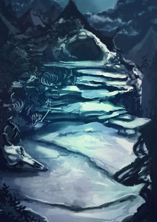 rpg: Watercolor cartoon illustration of a dark scary cave entrance path through the rocky mountain landscape with animal bone and corpse fictional horror scene
