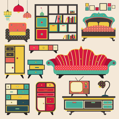old furniture: Old retro house appliance furniture and interior decoration flat icon design, create by vector Illustration