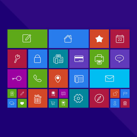 Trendy computer or mobile application app program of flat business and office administration tool icon in colorful geometric square block, create by vector