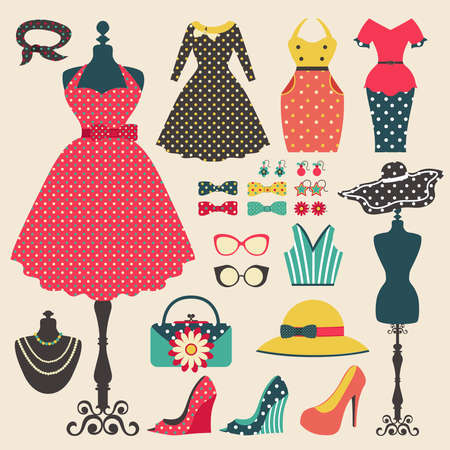fashionable woman: Old retro woman fashion clothes, garment, and accessories flat icon design in vintage pastel color style, create by vector
