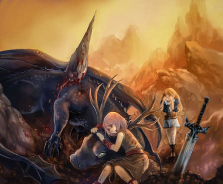 rpg: Cartoon illustration of a pet dragon died on a spiky rock with human warrior and elf girls showing sad expression in fantasy fairy tale concept