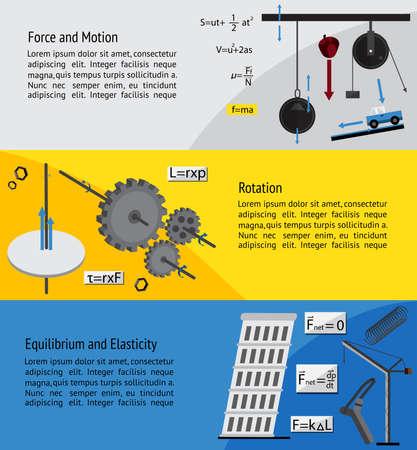 Fundamentele natuurkunde en techniek onder het hoofdstuk over de kracht, beweging, rotatie, evenwicht en elasticiteit theorie en formule infographic banner template lay-out achtergrond voor onderwijs en artikel, creëren door vector
