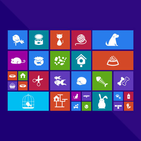 Trendy computer or mobile application app program of flat pet animal and accessories object icon menu in colorful geometric square block, create by vector