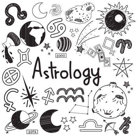 fortunetelling: Astrology and fortunetelling doodle handwriting sketch sign and symbol in white isolated background paper used for presentation title or subject introduction, create by vector