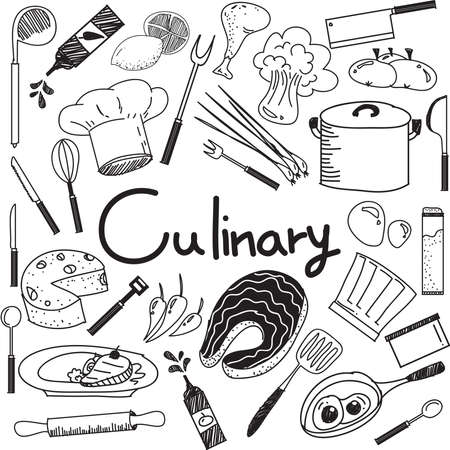 Culinaria y de escritura a mano del doodle de cocción de los ingredientes alimentarios y utensilios de cocina icono en blanco aislado papel de base para la presentación educación o título del tema, crear por el vector