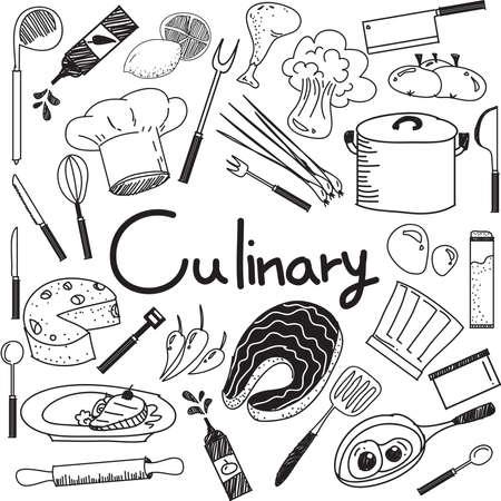 doodle culinaire et la cuisine écriture des ingrédients alimentaires et des outils de cuisine icône en blanc isolé document de base pour la présentation de l'éducation ou le titre sujet, créer par le vecteur