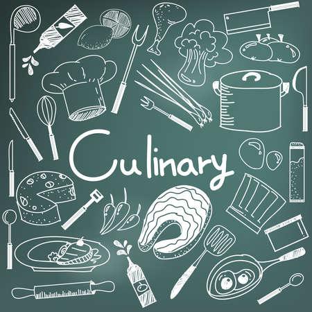 Culinaria y de escritura a mano del doodle de cocción de los ingredientes alimentarios y el icono de herramientas de cocina en el fondo de la pizarra para la presentación de la educación o título del tema, crear por el vector Ilustración de vector