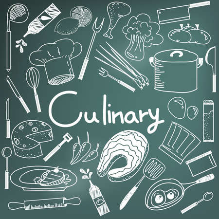 Culinary and cooking handwriting doodle of food ingredients and kitchen tools icon in blackboard background for education presentation or subject title, create by vector Иллюстрация