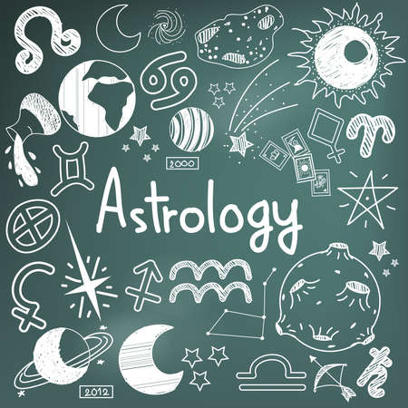 mayan prophecy: Astrology and fortunetelling doodle handwriting sketch sign and symbol in blackboard background used for presentation title or subject introduction, create by vector
