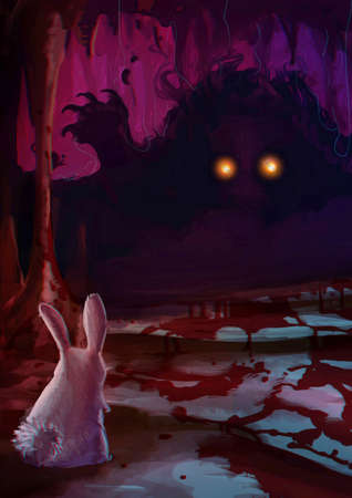 animal blood: Cartoon illustration of white rabbit bunny confronting a scary monster with glowing eyes and sharp claw with blood on the ground in the dark cavern