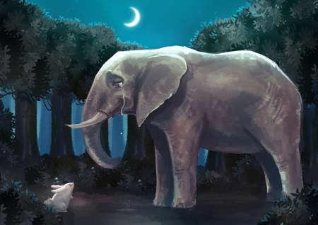 Cartoon Illustration der weißen Kaninchen Hase spricht mit einem traurigen Elefanten im Wald Nachtszene