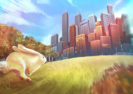 adventure story: Cartoon illustration of cute white rabbit bunny is running toward the human city buildings with speed Stock Photo