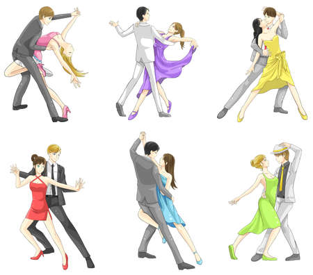 An illustration cartoon characters set of dancing couple sport for both man and woman in various action and dancer fashion clothing, create by vector