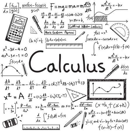 Calculus wet theorie en wiskundige formule vergelijking doodle handschrift pictogram in witte geïsoleerde papier achtergrond met handdrawn model voor het onderwijs presentatie of onderwerp titel, creëren door vector