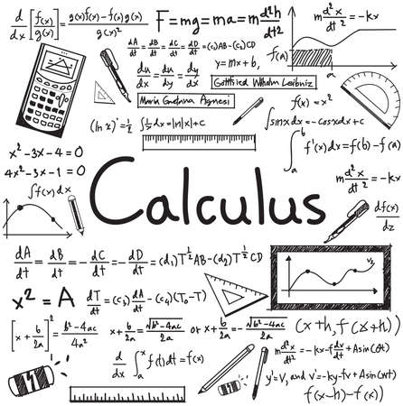 Calculus law theory and mathematical formula equation doodle handwriting icon in white isolated paper background with handdrawn model for education presentation or subject title, create by vector