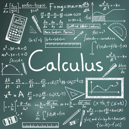 differential: Calculus law theory and mathematical formula equation doodle handwriting icon in blackboard background with handdrawn model for education presentation or subject title, create by vector Illustration
