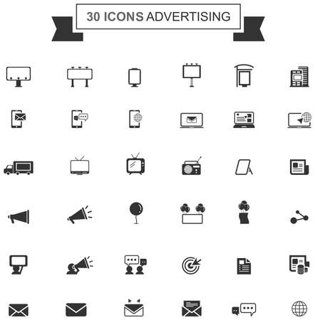 Flat business media advertising or digital internet marketing silhouette icon collection set design, create by vector Ilustração