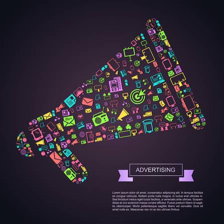 publicidad en los medios de negocios plana o de marketing digital de internet icono de la plantilla infografía diseño de banners en megáfono forma de anuncio, crear por el vector