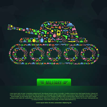 granade: Flat military army and soldier weapon infographic template banner background icon set in tank shape with sample text, create by vector Illustration