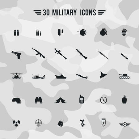 night vision: Flat military army and soldier weapon transportation sign and symbol such as gun grenade tank jet and badges silhouette icon collection set with camouflage background, create by vector