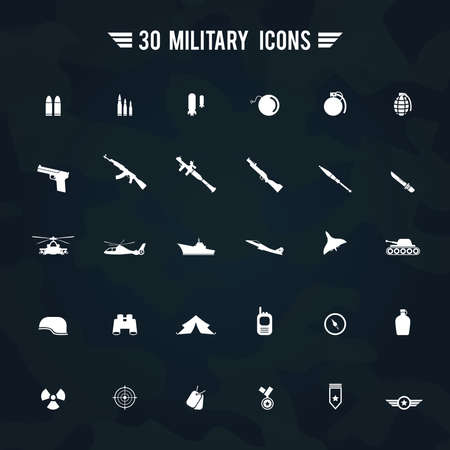 granade: Flat white silhouette military army and soldier weapon transportation sign and symbol such as gun grenade tank jet and badges icon collection set with camouflage background, create by vector