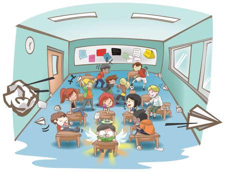 Cartoon illustratie van een rommelig school klas vol ondeugend en eigenwijs studenten, maar slechts één studeert hard als een witte schapen in een groep zwarte schapen concept, creëren door vector