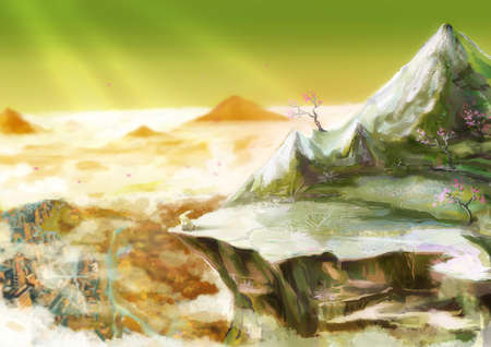 shinning: Cartoon illustration of cute white rabbit bunny is standing overhanging rock cliff in the beautiful mountain valley scene with sunlight shinning