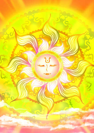 shinning: Cartoon illustration of a sun god in the sky with shinning sunlight ancient pattern ray in mother of nature and fairy tale concept Stock Photo